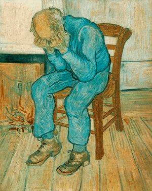 Cuadro que expresa tristeza. Anciano en Pena. Van Gogh