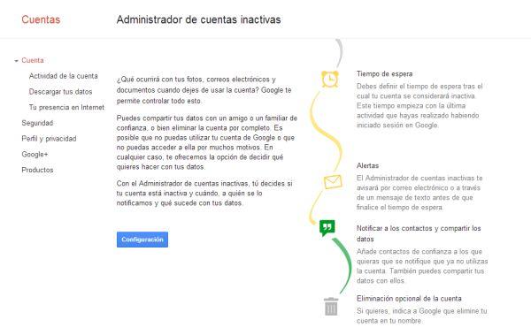 Google lanza el novedoso administrador de cuentas inactivas