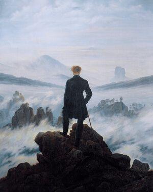 Cuadro que expresa soledad. Caminante sobre el mar de nubes, Friedrich