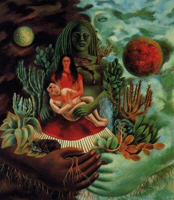 Cuadro que expresa serenidad. El abrazo de amor de El universo, la Tierra (México), Yo, Diego y el señor Xólotl. Frida Kahlo